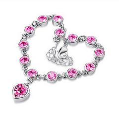 ◆ハート ピンク クリスタル ブレスレット 新品 送料無料