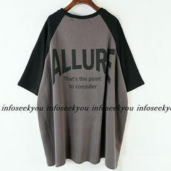 3L4L5L大きいサイズ/バックロゴ~黒灰ツートンTシャツ