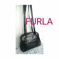 正規 FURLA クロコ レザー ショルダーバッグ ブラック 黒 袋付き
