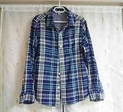美品◆ユニクロ◆長袖チェックシャツ*ブルー系*140