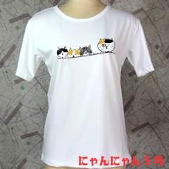 送料無料★猫Tシャツ にゃんにゃん5号 親子で散歩ネコ 白 М
