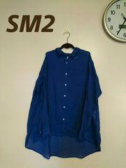 《SM2》新タグ/大きいサイズ/ネイビー/前後丈違いシャツチュニ♪