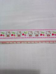 【白】約25mm巾 いちご柄キティリボン1M