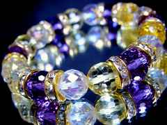 128面カットアメトリン§64面カットレインボーオーラ水晶§10ミリ§金ロンデル