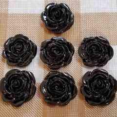 K☆7コ☆黒バラ☆お花☆薔薇☆約2.2cm☆プラスチックパーツ
