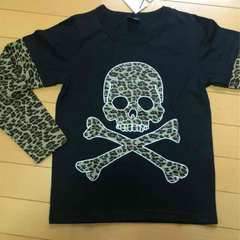 新品◆劇渋!ヒョウ柄ドクロ◆長袖Tシャツ◆140スカル