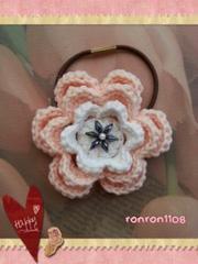 ハンドメイド/手編み♪コットン編みお花のヘアゴム 2-122