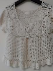 美品 透かし レース編み ボレロ 半袖