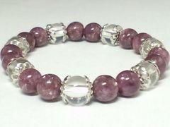 レピドライト8ミリ×水晶8ミリ菊座デザイン数珠