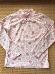 ユニクロ フリース ハイネックシャツ ハート柄 ピンク140
