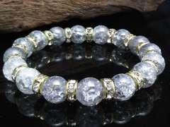 シルバークラック8ミリ金ロンデル数珠