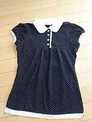 ドット柄半袖ポロシャツ☆ブラック 150 ハートボタン