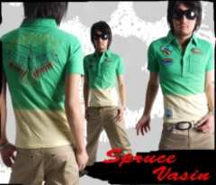 ネィティブ刺繍&ワッペン付グラデーション*ポロシャツグリーンL