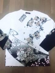 ☆新品[さとり・SATORI]桜尽くし刺繍フェイクレイヤード ロンT スカジャン好きも