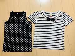 1円 ◆ 美品 ◆ ディズニー セーラー風 半袖Tシャツ ドット柄