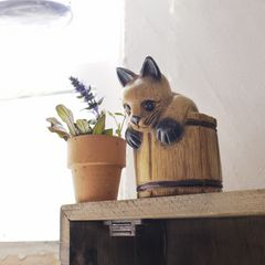樽入り猫☆ねこの置物/ネコ/木彫り/アジアン雑貨/インテリア★