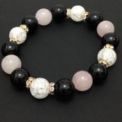 クラック&ピンク水晶:オニキス激安出品!天然石