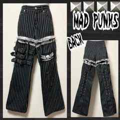 【MAD PUNKS】ストライプ柄ガーター風2WAYボンテージパンツ