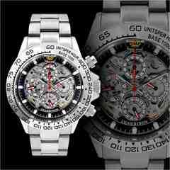 送料無料&1年保証!オラオラ系クロノグラフ腕時計/自動巻き手巻き防水/09銀