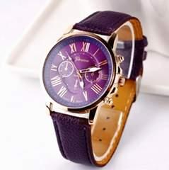 1円〜◆Roman Number purple leather Watch