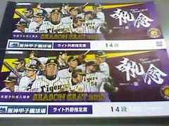 9月11日(火)阪神vs中日 通路側ペア席!ライトスタンド