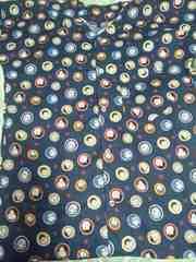 ☆新品紺×おかめひょっとこ柄ダボシャツL9分丈袖