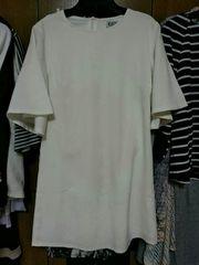 白 半袖フレアチュニック カットソー Sサイズ