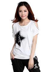 キラキラスター!!半袖スパンコールTシャツ(XL寸・白)