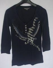 アルマーニA/X七分袖トップス黒sizeSロゴ入り