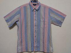 即決!USA古着●鮮やかストライプデザイン半袖シャツ!ビンテージ