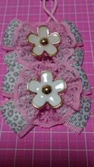 Wヘアゴム☆ゴールド縁花☆ピンクサイドラインにレオパード柄