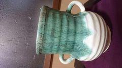 上野焼お茶席用…水差緑釉掛け耳飾り