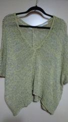 ■春物美品PAGEBOYライムイエロードルマン袖裾変形ニットソー■