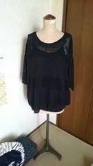 大きいサイズ透け編みニット五分袖3L黒