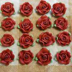 約 1.3 cm ☆ 16 コ ☆ (ブラウン) 樹脂薔薇