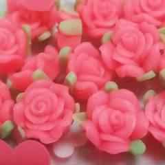 8ミリ ☆ 24コ ☆ (ピンク)樹脂薔薇