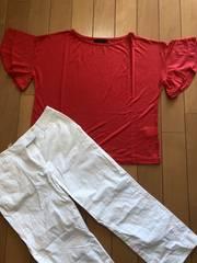 新品!IMAGE。赤ティシャツ。フリル袖。