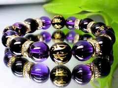 天然石☆10ミリ七種梵字黒瑪瑙・紫水晶アメジスト・オニキス☆開運数珠