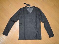 新品SHELLACシェラックV字カットソー46黒ロンTシャツ