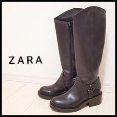 〇ZARA〇ロングブーツ ブラック24 黒