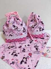 6:不思議の国のアリス☆ランチバッグ&コップ袋&ランチマット ハンドメイド