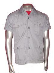送料無料 未使用 日本製 半袖 シャツ ジャケット グレー色 M