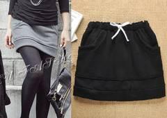 *【4L】大きいサイズ*裏起毛厚手スカート 黒 ブラック 即決