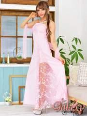 0392★チュールショール付*ラメドット入り刺繍花柄チュール重ねベアロングドレス*ピンク