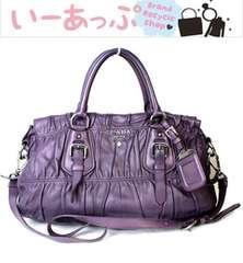 美品 プラダ ショルダーバッグ ハンド トート レザー 2WAY紫v448