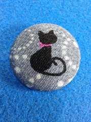 花簪可愛い猫の帯留め&ブローチ黒猫ちゃん/グレー