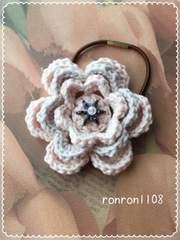 ハンドメイド/手編み♪コットン編みお花のヘアゴム 2-125