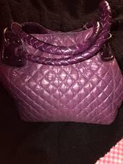レディース 肩掛革製 ハンドバッグBag 2Way 紫色 ナイロン 綿入