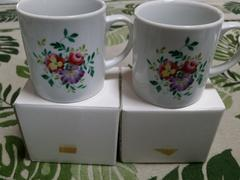 未使用アンティーク☆高島屋購入ナルミ花柄マグカップ2個セット