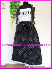 春夏新作◆大きいサイズ◆3Lブラック×ドット柄◆腰紐付◆ミモレ丈スカート